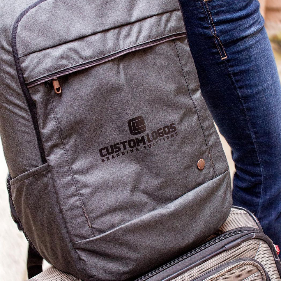 image of branded embroidered backpacks produced in-house by custom logos