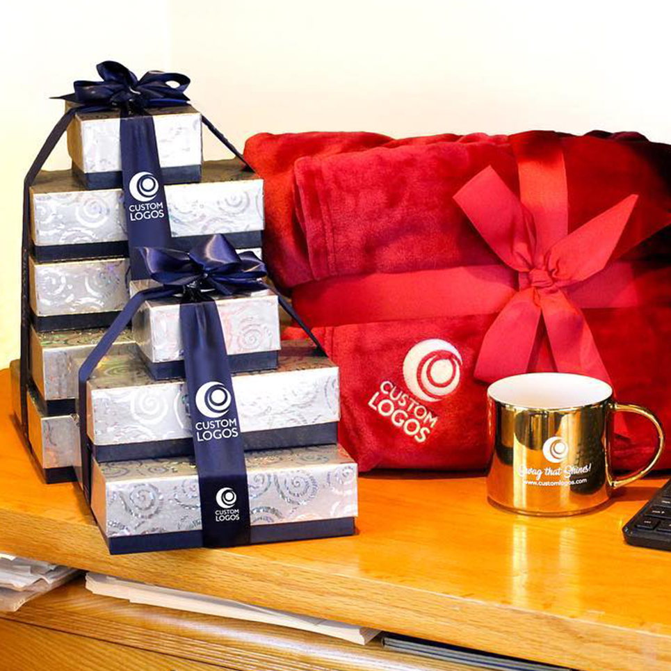 image showing custom branded wrapped gift set
