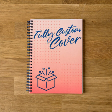 image of a custom branded spiral notebook