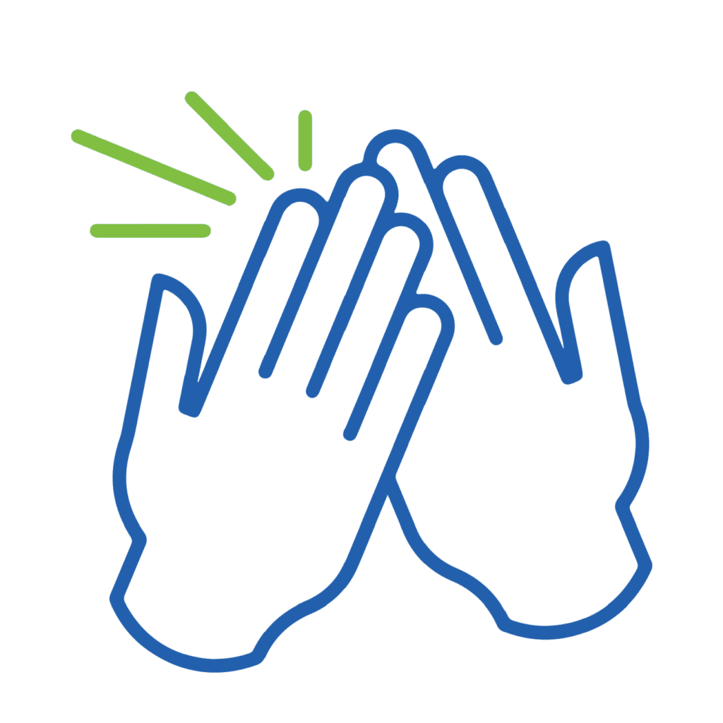 icon showing high five representing custom logos value about team ethos
